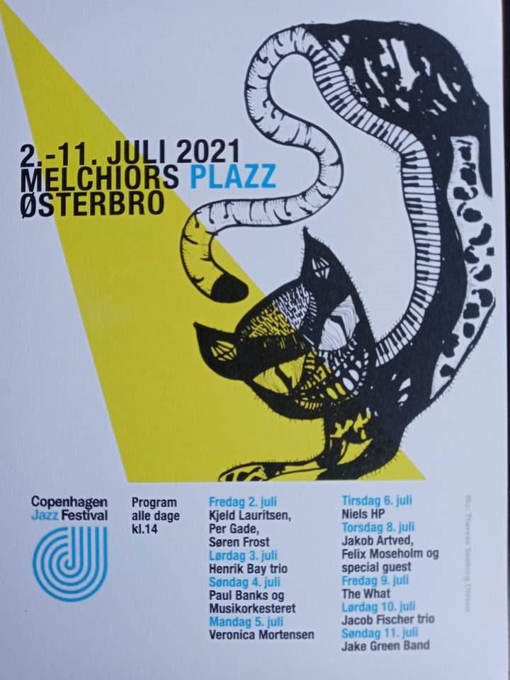 Jazz på Melchiors Plads 2021. Illustration: Therese Søeborg Ohlsen.